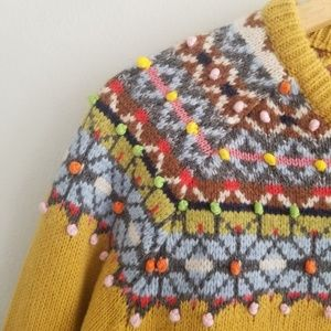 Boden Sweaters - Boden Fair Isle Pom Pom Nordic Yellow Sweater